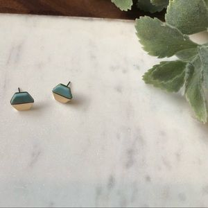 Jewelry - The Palmer- Turquoise Marble & Gold Geometric Stud
